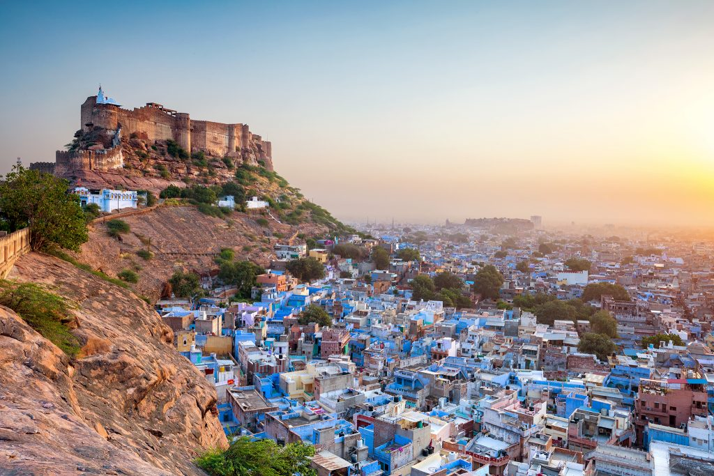 Views of the blue city of Jodhpur in India