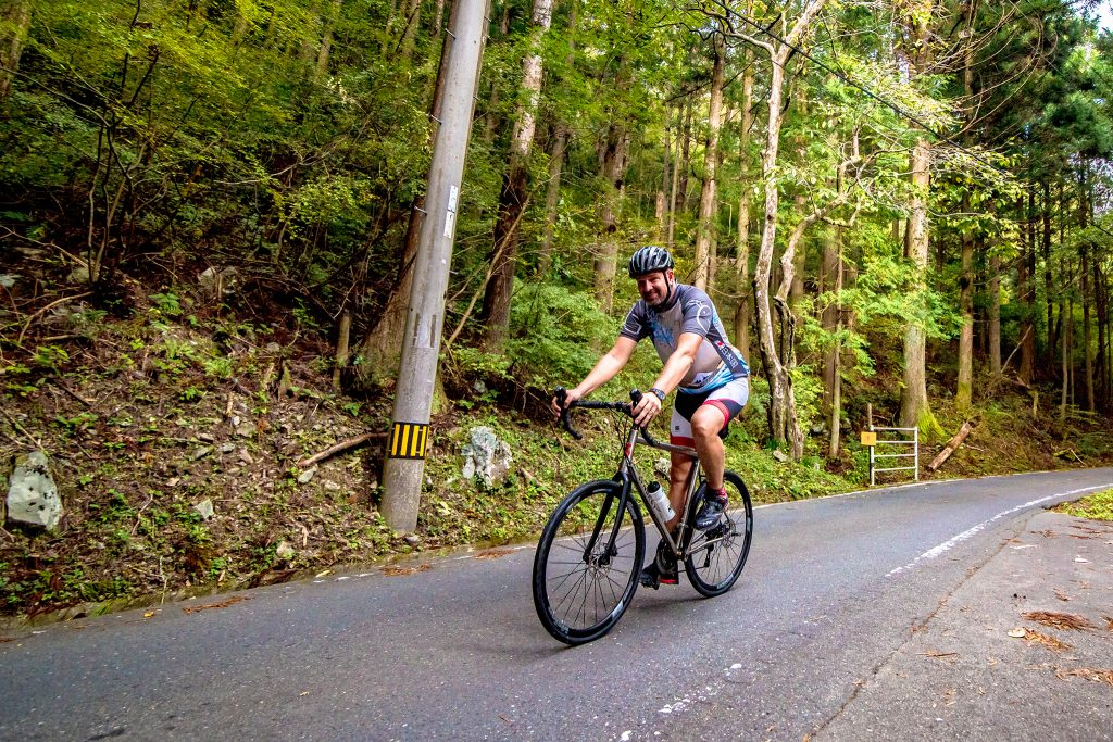 Cycling a forest road in Japan