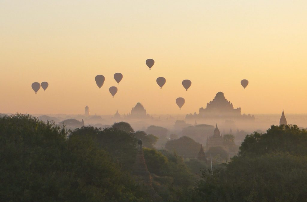 Hot air balloons above Bagan in the morning