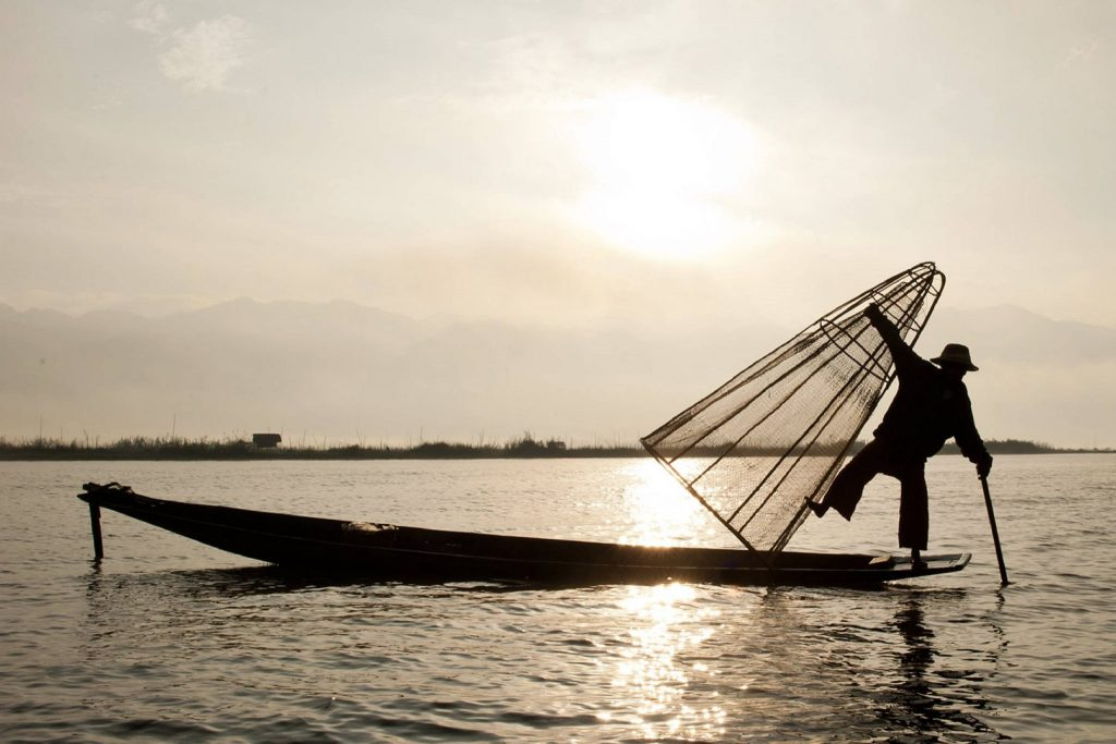 Traditional fisherman on Inle lake, Myanmar