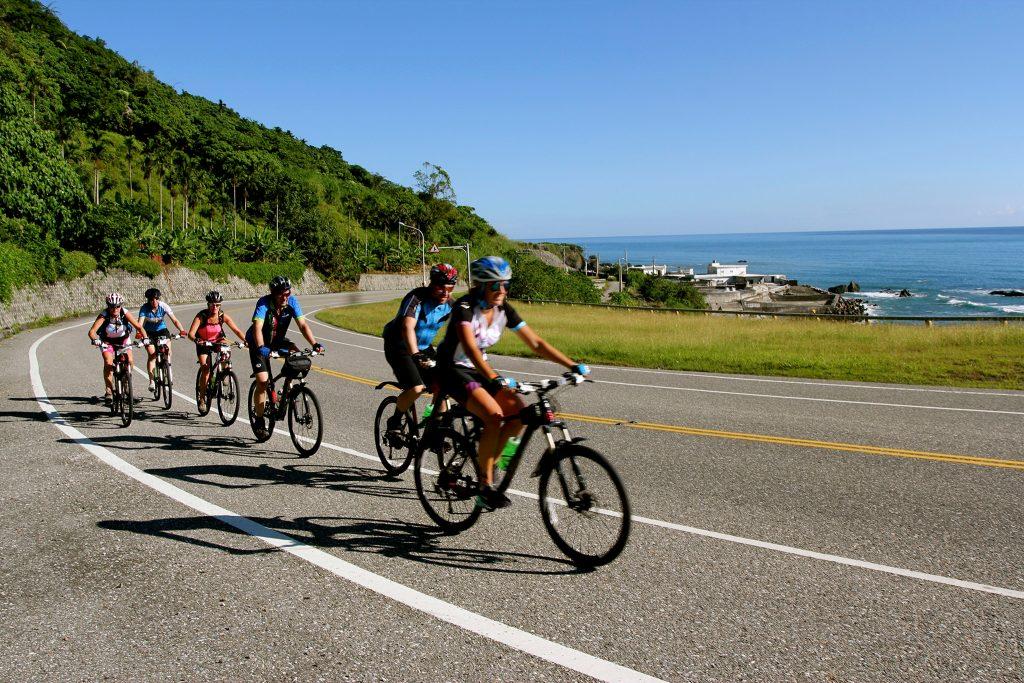 Cycling group biking the sea coast of Taiwan