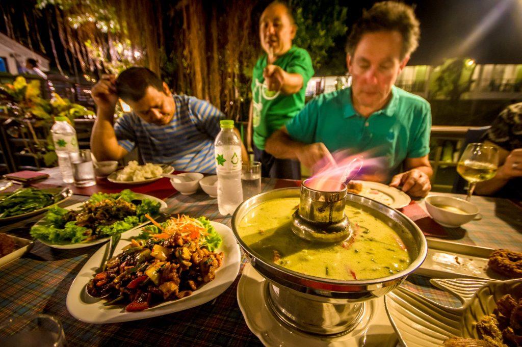 Cycing Group enjoying a Thai food dinner