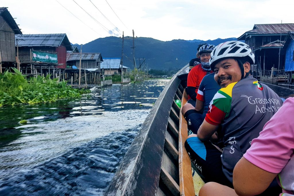 Cycling tour in boat on Inle Lake, Myanmar