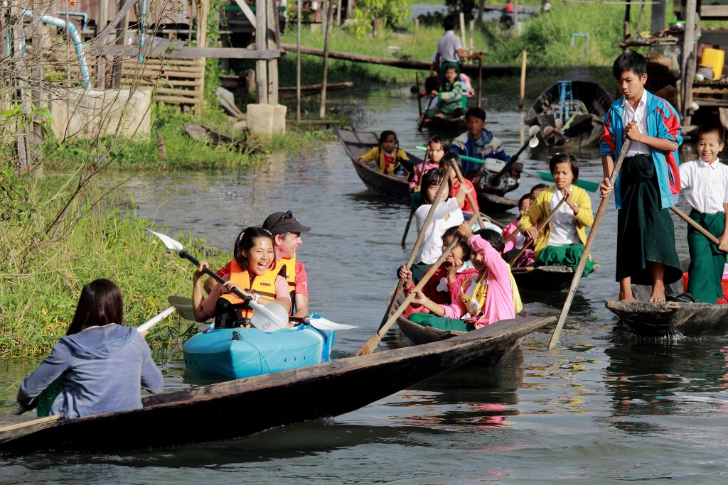 Kayaking with local boat on Inle Lake, Myanmar
