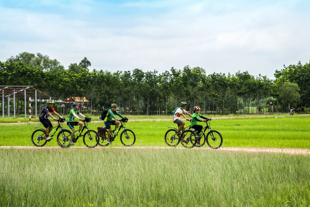 Cycling through the rice paddies in Vietnam