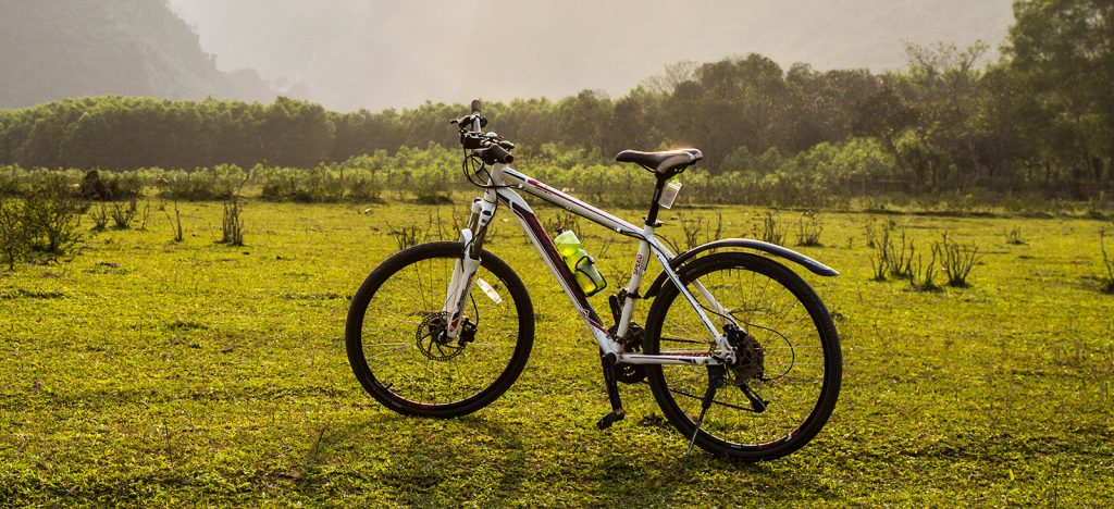 Bicycle parked in green field Vietnam