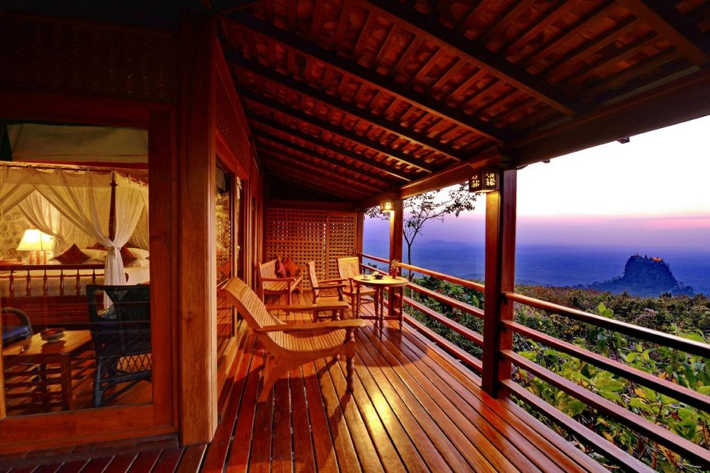 View from deck of Popa mountain resort in Bagan