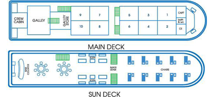 Layout of RV River Kwai riverboat in Thailand