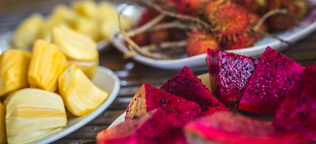 Jackfruit, Lychee, and Dragonfruit