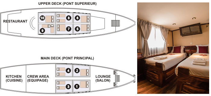 Layout and cabin of Toum Tiou ship