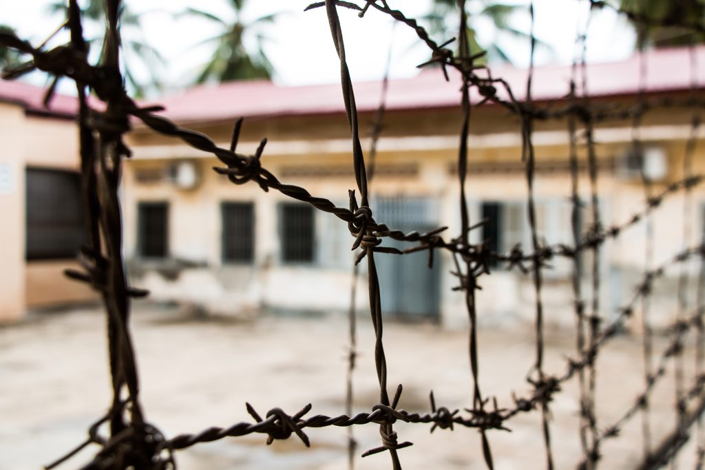 Barbed wire fence in Phnom Penh
