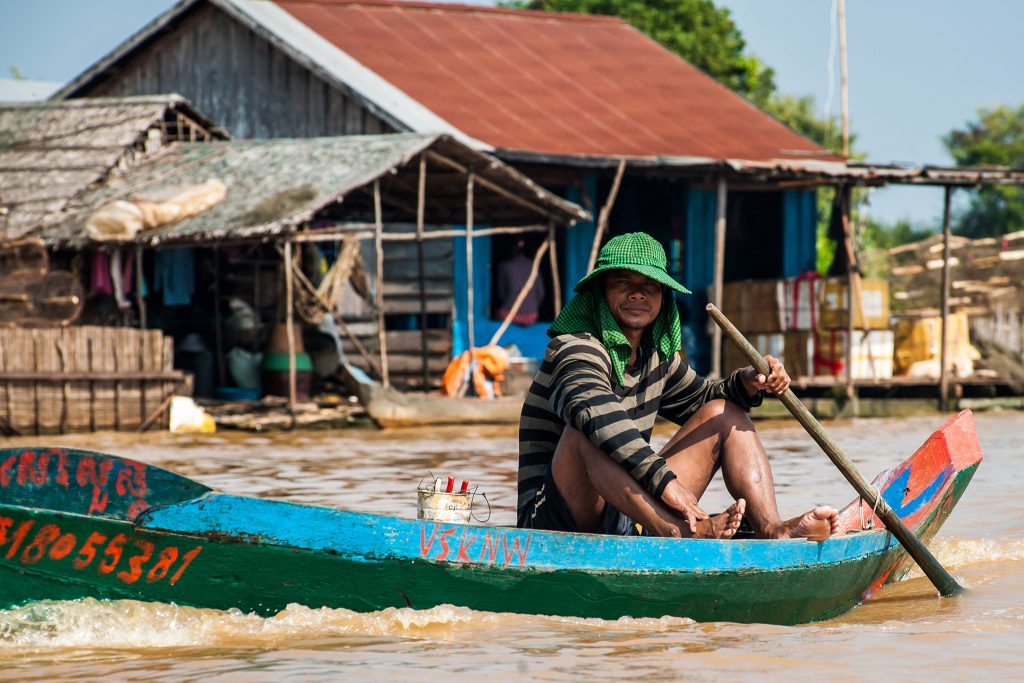 boatman in the Tonle Sap in Cambodia