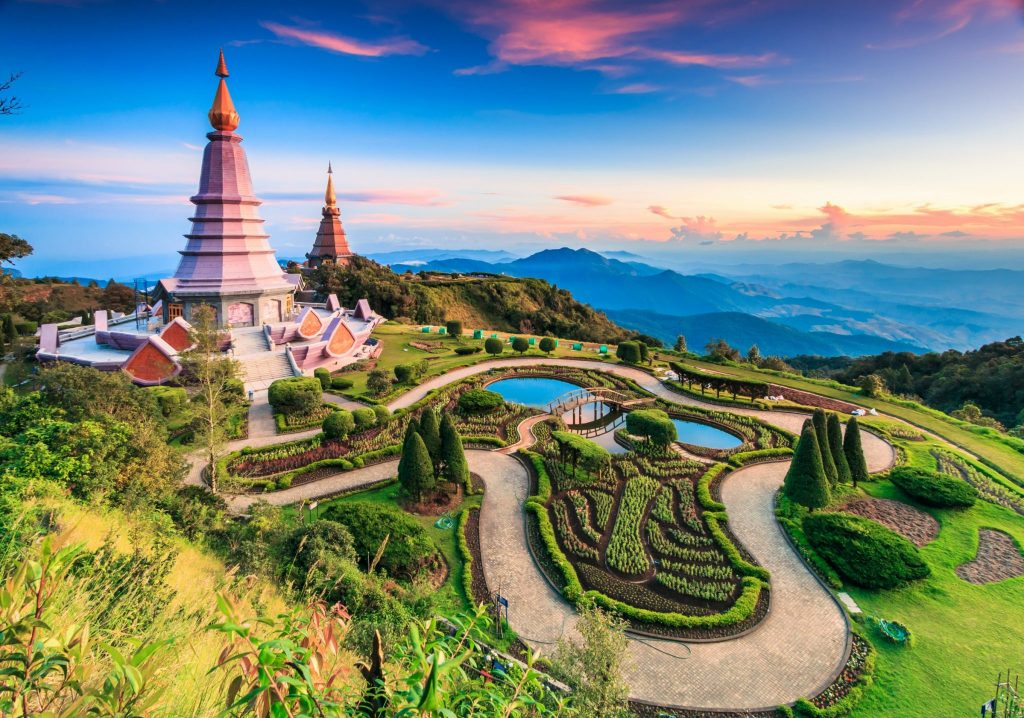 Doi Inthanon National Park in Chiang Mai Province, with spires set against mountain views