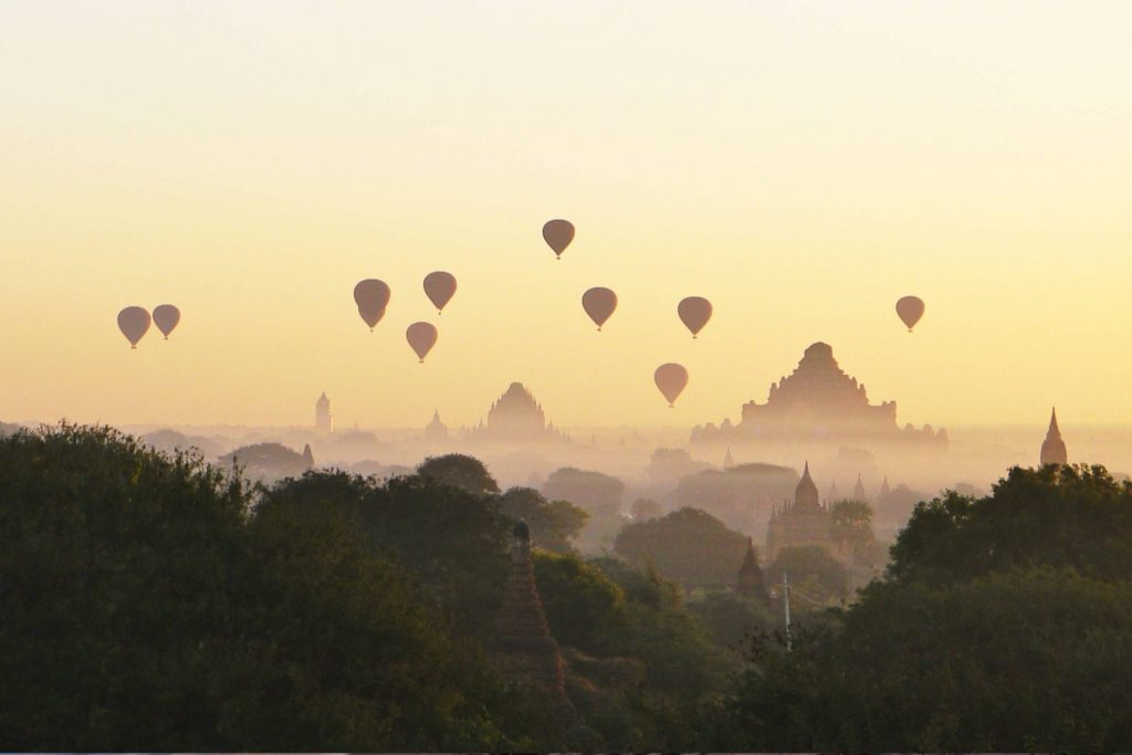 Hot Air balloons above the Bagan Temples in the morning