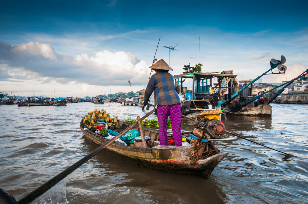 Local woman paddling boat full of produce on Mekong river with boats in the background
