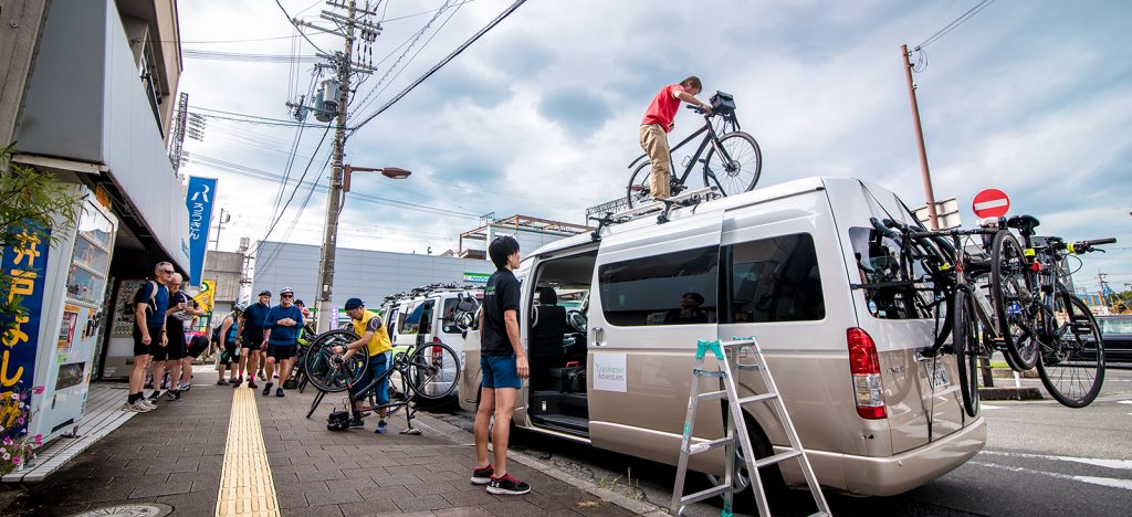 Loading bicycles into van