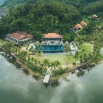 A drone picture of a resort on a peninsula Lang Co in Hoi An.