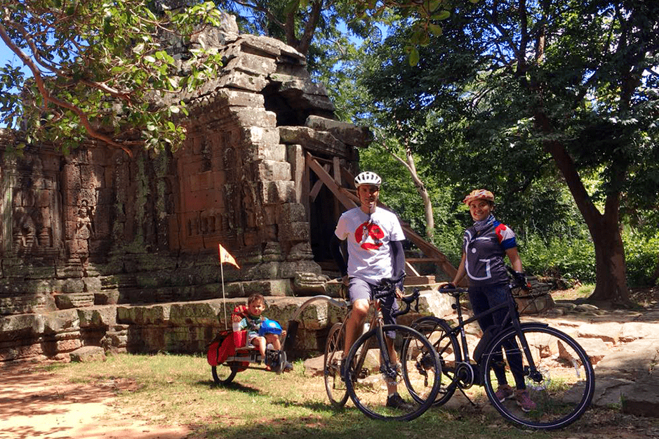 Adam Marie and Ian biking at Angkor Thom